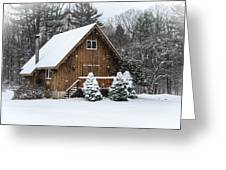 Snowy Country Cottage Greeting Card