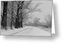 Snowy Country Road - Black And White Greeting Card