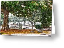 Snowy Day At The Cemetery - Greensboro North Carolina Greeting Card
