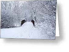 Snowy Day Bridge Greeting Card
