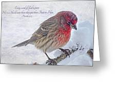 Snowy Day Housefinch With Verse  Greeting Card
