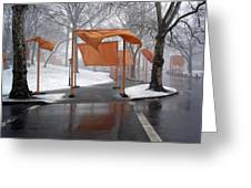 Snowy Day In Central Park Greeting Card
