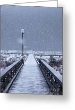 Snowy Day On The Boardwalk Greeting Card