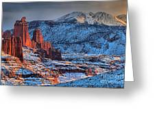 Snowy Fisher Towers Greeting Card