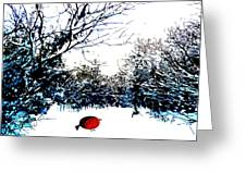 Snowy Forest At Christmas Time Greeting Card