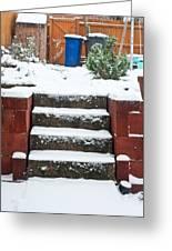 Snowy Garden Greeting Card by Tom Gowanlock