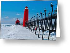 Snowy Grand Haven Pier Greeting Card