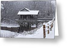New Salem Grist Mill In The Snow Clr Greeting Card