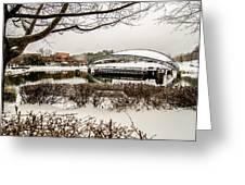 Snowy Landscape At Symphony Park Charlotte North Carolina Greeting Card