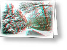 Snowy Lane - Use Red/cyan Filtered 3d Glasses Greeting Card
