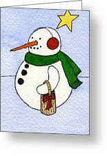 Snowy Man Greeting Card by Norma Appleton
