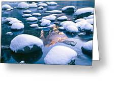 Snowy Merced River With Reflection Greeting Card