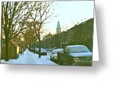 Snowy Montreal Winters City Scene Paintings Verdun Memories Church Across The Street Greeting Card
