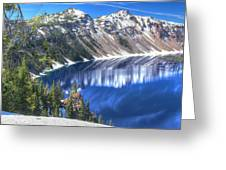 Snowy Mountains Reflected In Crater Lake Greeting Card