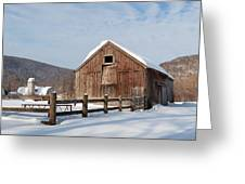 Snowy New England Barns Square Greeting Card