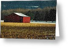Snowy Red Barn In Winter Greeting Card