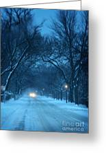 Snowy Road On A Winter Evening Greeting Card