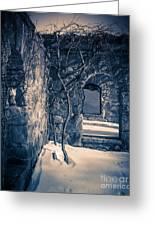Snowy Ruins At Night Greeting Card