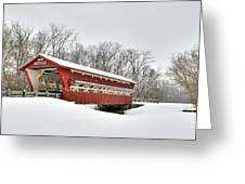 Snowy Spain Creek Covered Bridge 1870s Greeting Card