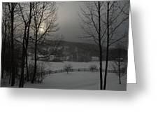 Snowy Sunset  Greeting Card