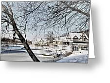 Snowy View Of Boathouserow Greeting Card