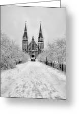 Snowy Villanova In Black And White Greeting Card