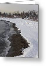Snowy Winter Beach Patterns - Lake Ontario Toronto Canada Greeting Card