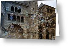 Soap-bubbles In Front Of An Ancient Cathedral Greeting Card