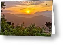 Soaring At Sunrise - Blue Ridge Parkway I Greeting Card