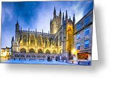 Soaring Perpendicular Gothic Architecture Of Bath Abbey Greeting Card