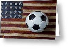 Soccer Ball And Stars And Stripes Greeting Card