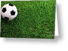Soccer Ball On Green Grass Greeting Card