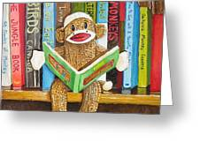 Sock Monkey Reading A Book Greeting Card