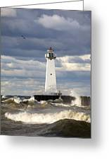 Sodus Outer Lighthouse On Stormy Lake Greeting Card