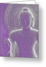 Soft Glow Purple Buddha Greeting Card by Sally Rockefeller