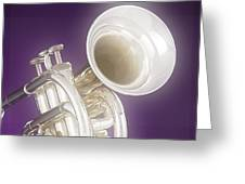 Soft Trumpet On Purple Greeting Card