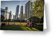 Softball By Skyscrapers Greeting Card