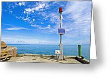 Solar-powered Light In Halls Harbour In Nova Scotia-canada Greeting Card
