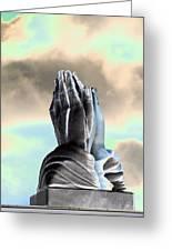 Solar Praying Hands Greeting Card