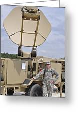 Soldier Stands Next To A Satellite Greeting Card