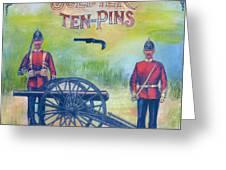 Soldier Ten-pins Greeting Card