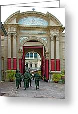 Soldiers In The Outer Court Of Grand Palace Of Thailand In Bangkok Greeting Card