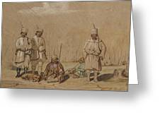 Soldiers Relaxing, 1844 Wc & Gouache On Paper Greeting Card