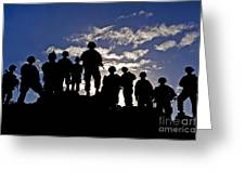 Soldiers Watch Troop Movements At Fort Greeting Card
