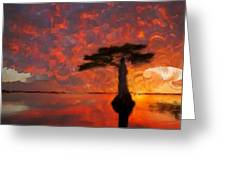 Sole Palm Tree At Sunset Greeting Card