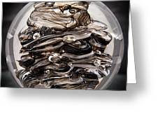 Solid Glass Sculpture 13r9 Black And White Greeting Card