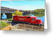 Solo Red Canadian Pacific Engine Along Rock River In Rockford Greeting Card
