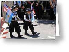 Some Young Italian Boys Marching In The St. Patrick Old Cathedral Parade Greeting Card
