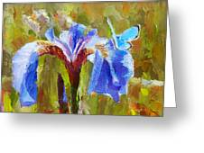 Alaskan Wild Iris And Blue Butterfly Flower Painting Greeting Card