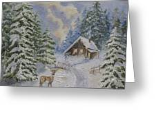 Somewhere In The Snowy Forest Greeting Card